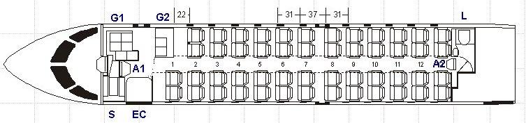 Bombardier CRJ 100/200 Схема салона