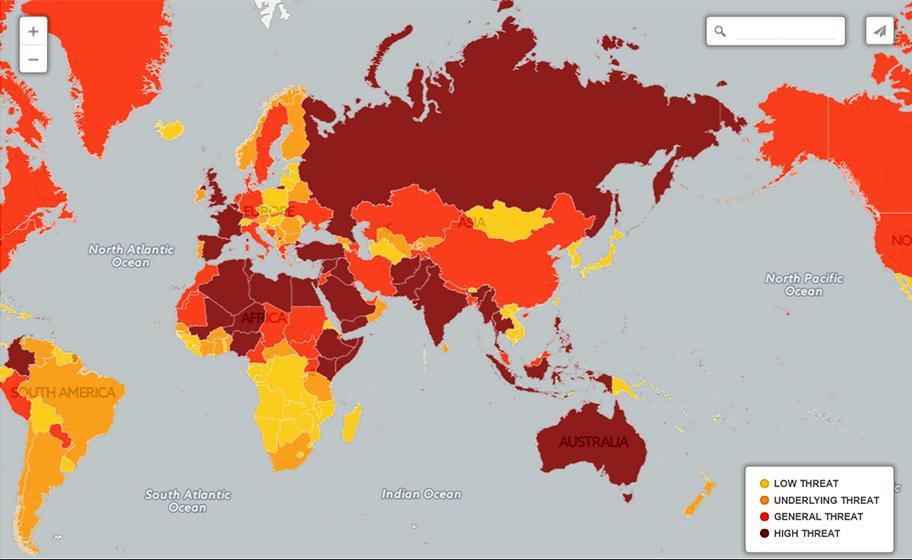 Карта террористической угрозы 2017