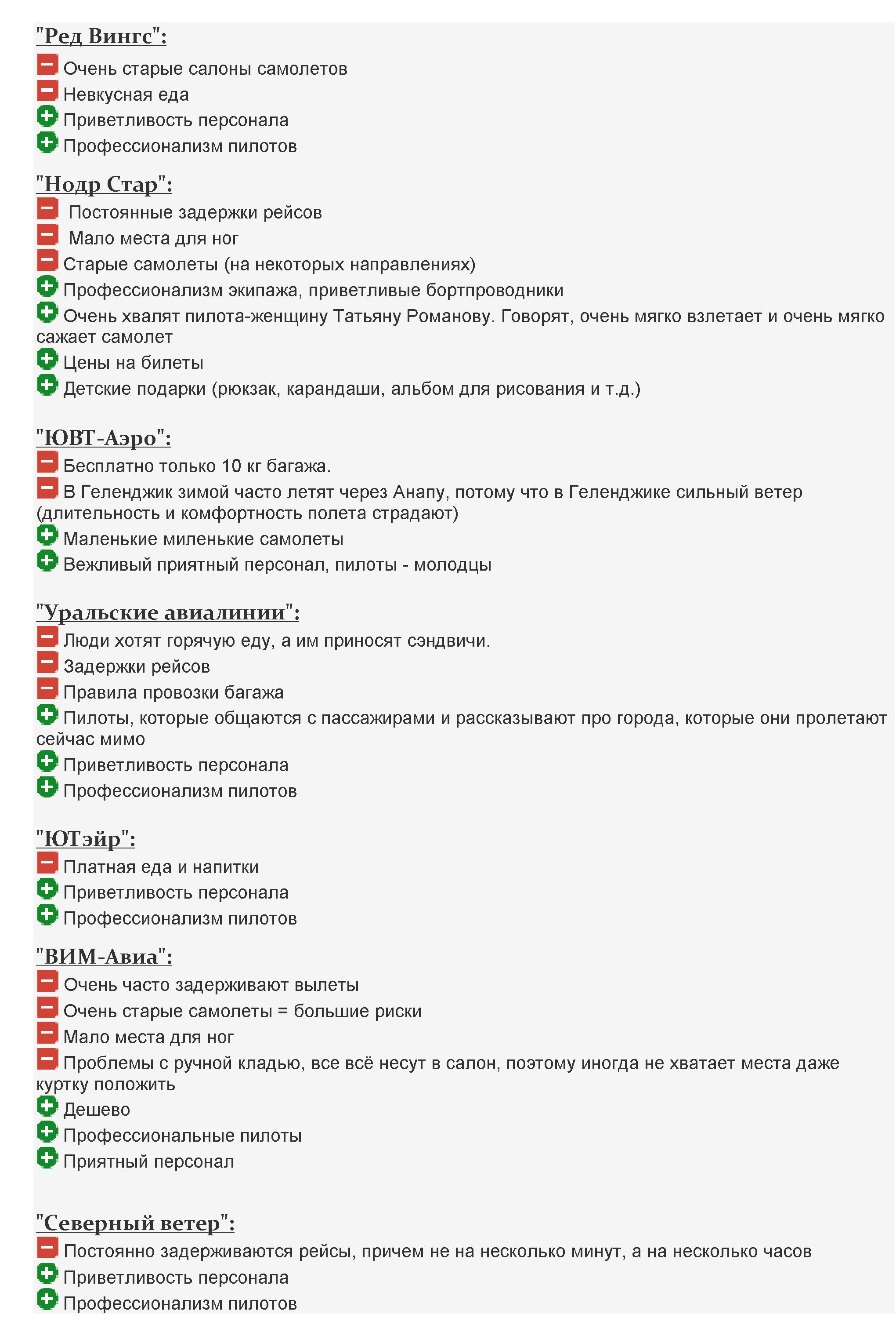 Отзывы об авиакомпаниях России