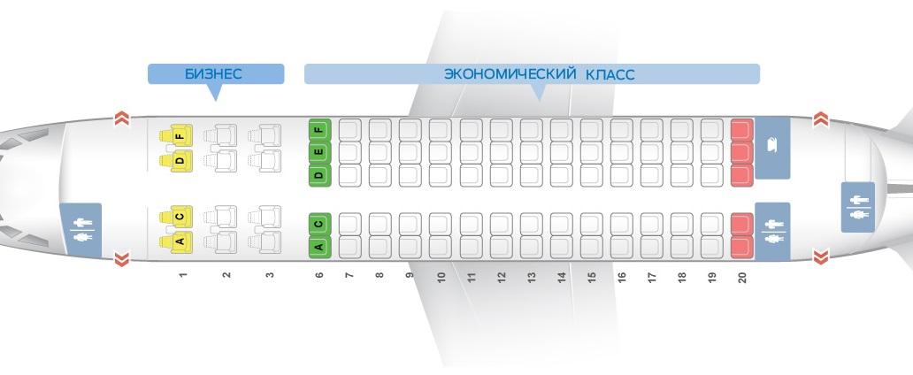 Sukhoi SuperJet 100 Схема салона